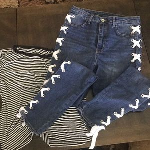 Divided lace up jeans